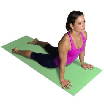 Model stretching on green CAP Fitness Yoga Mat