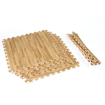 Unassembled CAP 6-Piece Dual Sided Foam Tile Flooring with Wood Style Pattern