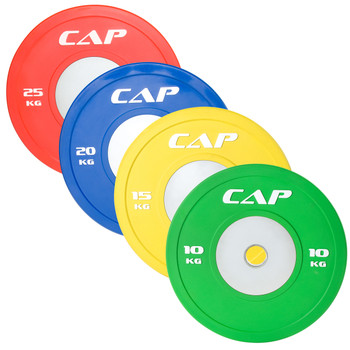 Multiple weights of CAP Olympic Rubber Competition Bumper Plate with Steel Insert