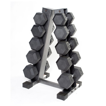 Gray CAP A-style Dumbbell Rack, front view with dumbbells