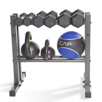 "24"" CAP Utility Storage Rack displaying Dumbbells, Medicine Balls and Kettlebells"