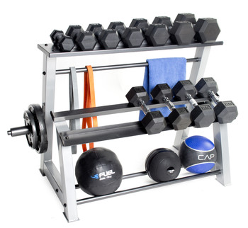 CAP Fitness Accessories Metal Storage Rack displaying dumbbells, weight plates, muscle bands, towel, and fitness balls