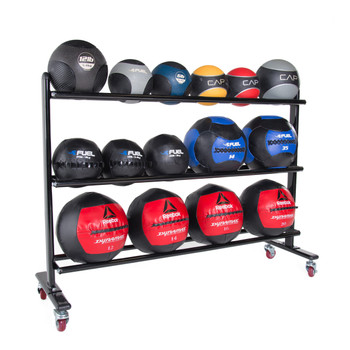 CAP 3-Tier Medicine Ball Rack displaying different types of fitness balls