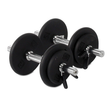 CAP Standard Solid Dumbbell Handle displaying weight plates
