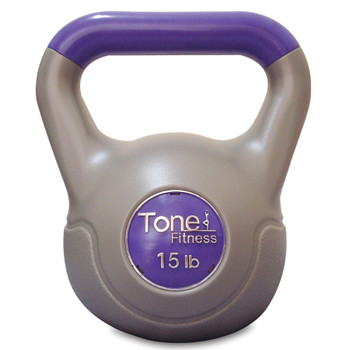 15 lb Tone Fitness PVC Coated Cement Kettlebell