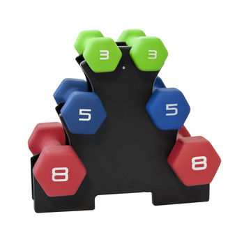 CAP Vinyl Dumbbell Rack displaying dumbbells