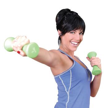 Model using Tone Fitness Hourglass Shaped Dumbbells