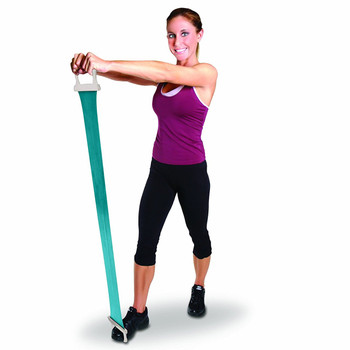 Model using Tone Fitness Pilates Flex Band with Handle