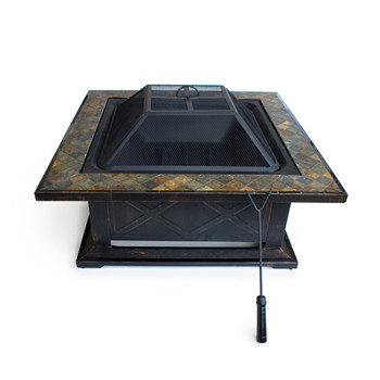 Outdoor Escapes Square Slate Fire Pit Table with Base, 36-Inch
