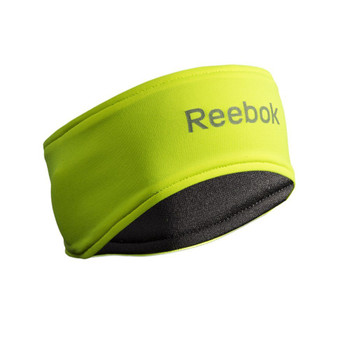 Reversible yellow and gray Reebok Reflective Headband, yellow side