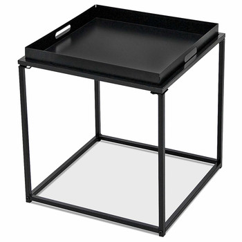 15.7-Inch Square Metal Tray End Table, Side Table, Matte Black