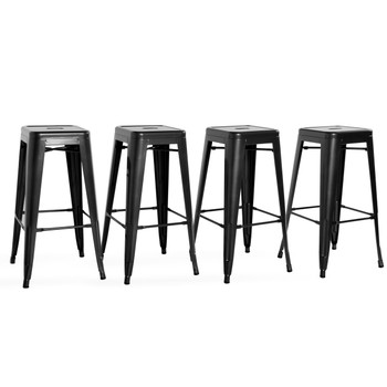 CAP Living Set of 4, Stackable 30 inches Sturdy Square Seat Metal Bar Stools, Colors Available in Glossy Black or Dark Gunmatal