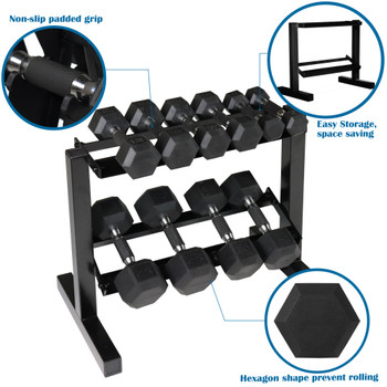 "CAP Barbell 150 LB PVC-Coated Hex Dumbbell Dumbbell Set with 28"" Horizontal Rack Stand"
