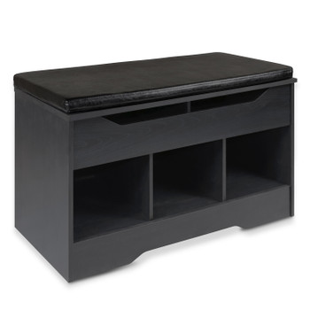 Shoe Cabinet Cushioned Bench with Open Storage Cubbies Rack with Lift-Top Compartment for Entryway, Black
