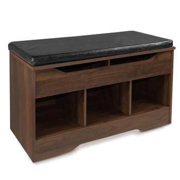 Shoe Cabinet Cushioned Bench with Open Storage Cubbies Rack with Lift-Top Compartment for Entryway,  Walnut