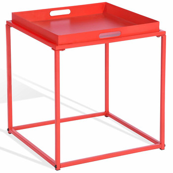 15.7-Inch Square Metal Tray End Table, Side Table, Matte Red