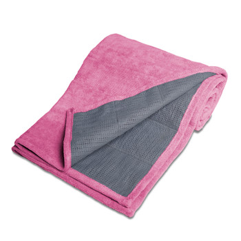 Tone Fitness Long Yoga Towel-Machine Washable Terry Cloth Yoga Mat-Pink
