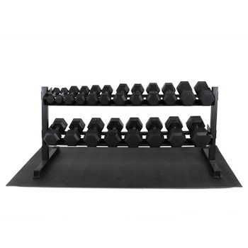 "CAP Barbell Rubber Hex 550-pound Dumbbell Set with 2-Tier 65"" Rack and Mat, 5 - 50LB Pairs"