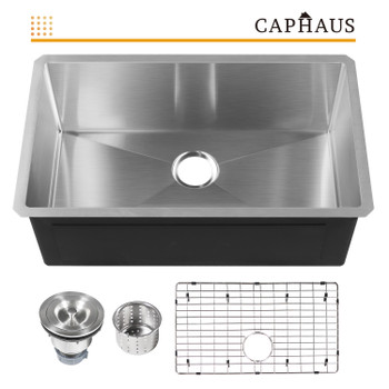 CAPHAUS  Undermount Single Bowl 16 Gauge Stainless Steel Kitchen Sink, 30""