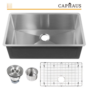 CAPHAUS  Undermount Single Bowl 16 Gauge Stainless Steel Kitchen Sink, 32""