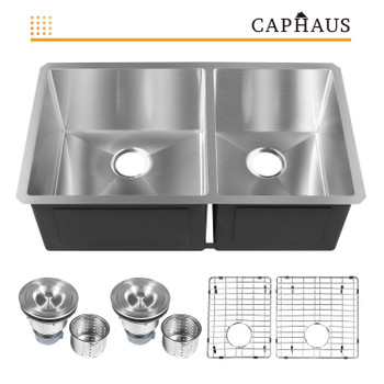 CAPHAUS  Undermount 60/40 Double Bowl 16 Gauge Stainless Steel Kitchen Sink, 32-3/4""