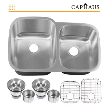 CAPHAUS  Undermount 60/40 Double Bowl 16 Gauge Stainless Steel Kitchen Sink, 32-1/4""