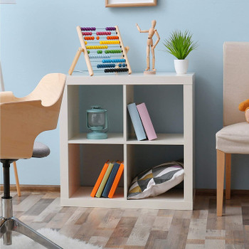 CAPHAUS 4 Cube Organizer w/Extra Wide Frame, Sturdy Storage Room Divider, 2 x 1/2 x 2/2 x 3 Bookcase, Colors Available in Espresso and White (White, 4 Cube)