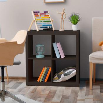 CAPHAUS 4 Cube Organizer w/Extra Wide Frame, Sturdy Storage Room Divider, 2 x 1/2 x 2/2 x 3 Bookcase, Espresso