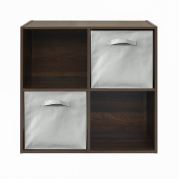"CAPHAUS 4 Cube 11"" Espresso Organizer w/Extra Wide Frame with storage bins"