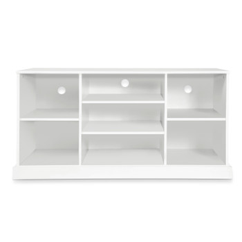 "CAP Living Wood 58"" TV Stand Console Table with Open Storage Shelves, White, 7 Cube"