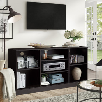 "CAP Living Wood 58"" TV Stand Console Table with Open Storage Shelves, Black, 7 Cube"