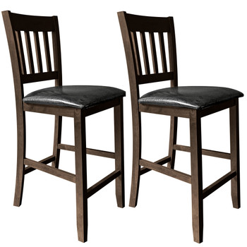 "CAPHAUS Cullen Solid Wood Rake Back Bar & Counter Stool, 24"", Set of 2, Capuccino/Black Onyx"