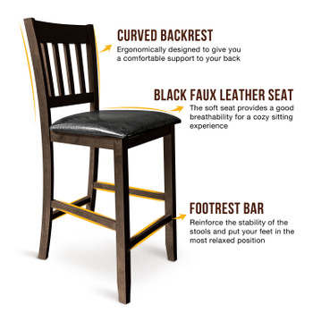 CAPHAUS Solid Wood Barstools, Rack Back, Set of 2, Cappuccino