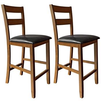 """CAPHAUS Cody Solid Wood Double-Slat Back Bar & Counter Stool, 24"""", Set of 2, Walnut/Black Onyx"""