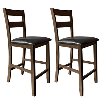 "CAPHAUS Cody Solid Wood Double-Slat Back Bar & Counter Stool, 24"", Set of 2, Capuccino/Black Onyx"