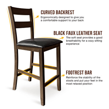 CAPHAUS Solid Wood Barstools, Ladder-Back, Set of 2, Cappuccino