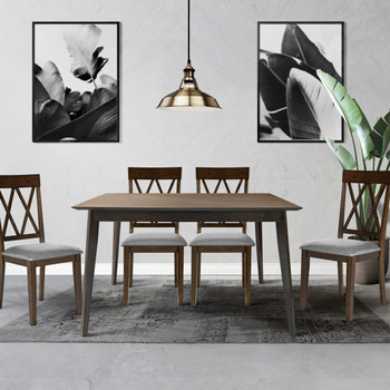 CAPHAUS Modern 5 Pieces Kitchen/Dining Room Table Set for Home, Rectangular Table and Gray Leather Cushion Chairs, Dining Table Set For 5 with Chairs