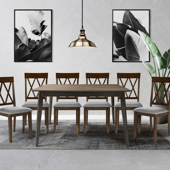 CAPHAUS Modern 7 Pieces Kitchen/Dining Room Table Set for Home, Rectangular Table and Gray Leather Cushion Chairs, Dining Table Set For 7 with Chairs