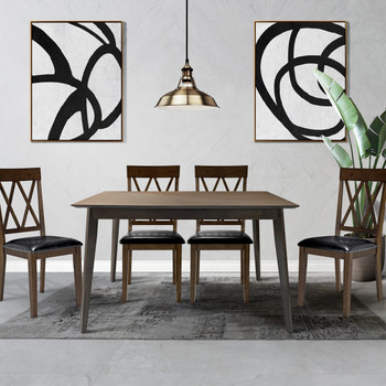 CAPHAUS Modern 5 Pieces Kitchen/Dining Room Table Set for Home, Rectangular Table and Black Leather Cushion Chairs, Dining Table Set For 5 with Chairs