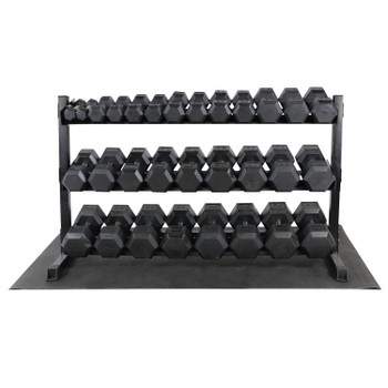 WF Athletic Supply Rubber Coated Hex Dumbbell Set, 1200LB Dumbbells Set with Rack Stand and Mat