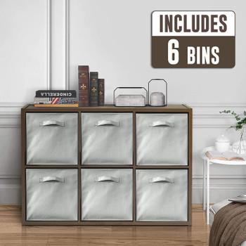 CAPHAUS 6 Cube Organizer w/Extra Wide Frame with storage bins, Espresso
