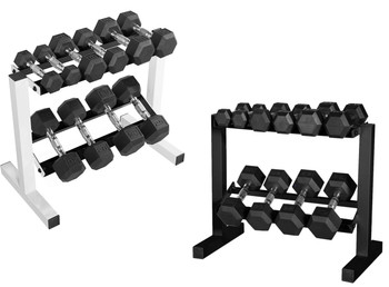 WF Athletic Supply 5-25Lb Rubber Coated Hex Dumbbell Set with Two Tier Storage Racks