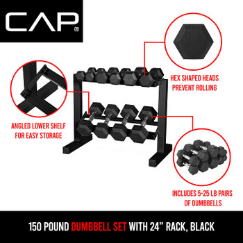 WF Athletic Supply 5-25Lb Rubber Coated Hex Dumbbell Set with Two Tier Storage Rack-1
