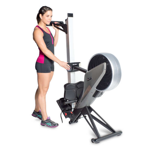 Model displaying Velocity Exercise Vantage Programmable Rower