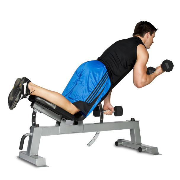 Model doing bicep curls on the CAP Deluxe Utility Bench