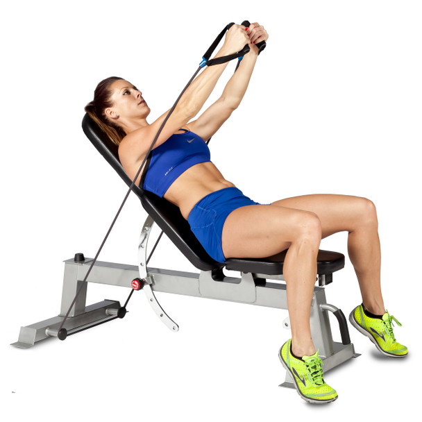 Model using resistance bands with the CAP Deluxe Utility Bench in decline position