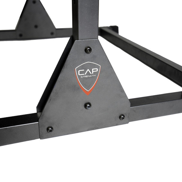 Close-up of CAP Strength Power Rack Exercise Stand logo