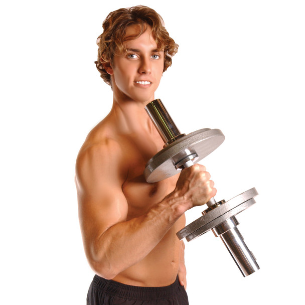 Model using CAP 20 in Olympic Solid Dumbbell Handle