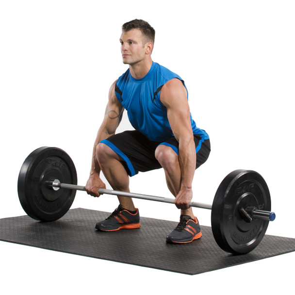 Model picking up CAP Aluma-Lite Olympic Training Bar with weight plates