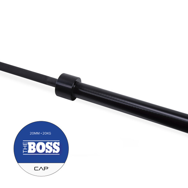 """Handle of CAP """"The Boss"""" Olympic Power Lifting Bar with Center Knurl, Black"""
